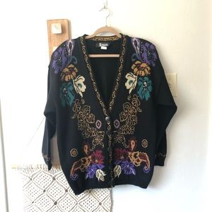 Vintage Acrylic Floral Cardigan Sweater